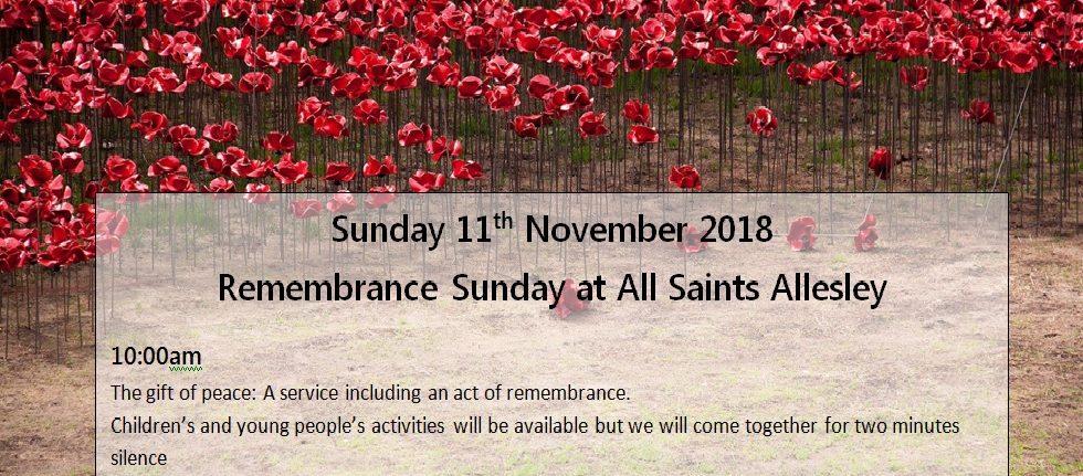 Remembrance Sunday  – 11 November 2018
