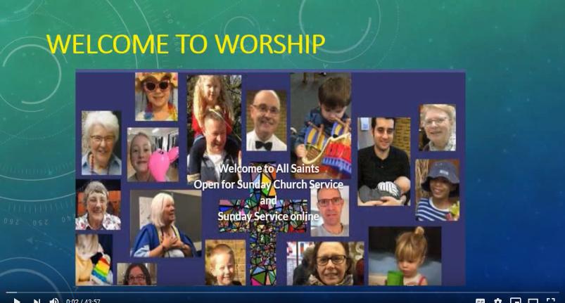 Sunday Service  – 30 August 2020